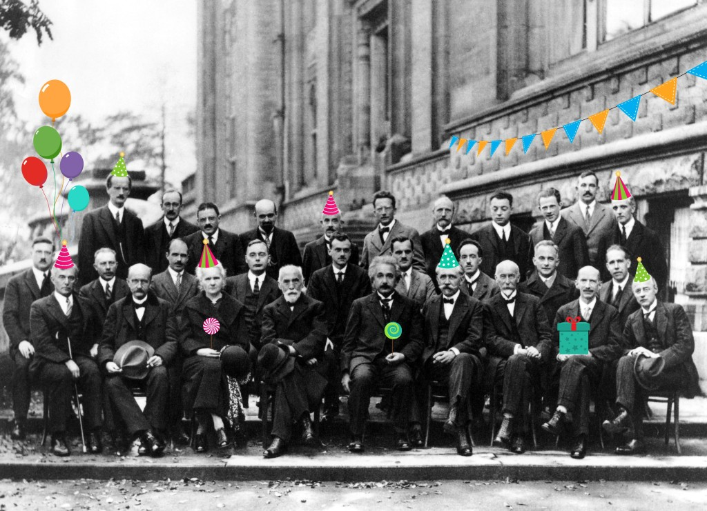 1927 Solvay Conference attendees including Marie Curie, Albert Einstein, and Max Planck decked out in their birthday best!