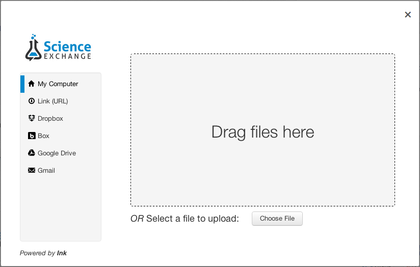 Drag any file from your computer's hard drive and drop it into the field to upload.